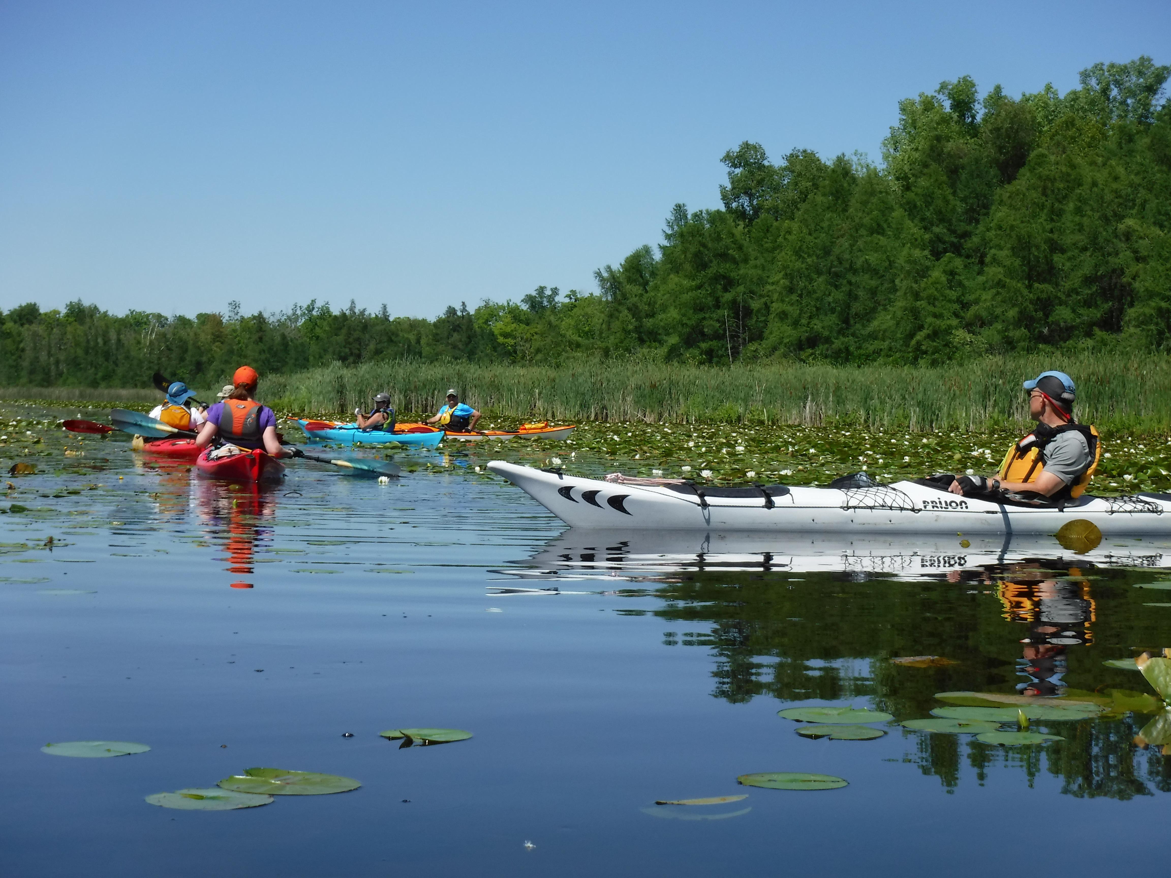 Group kayak trip on Big Cedar Lake, Wi