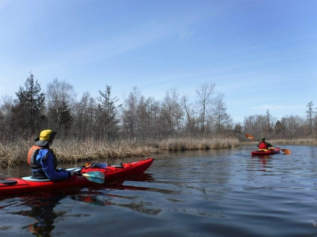 Early spring paddle trip outside West Bend, Wi