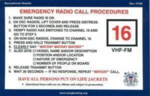 VHF mayday sticker