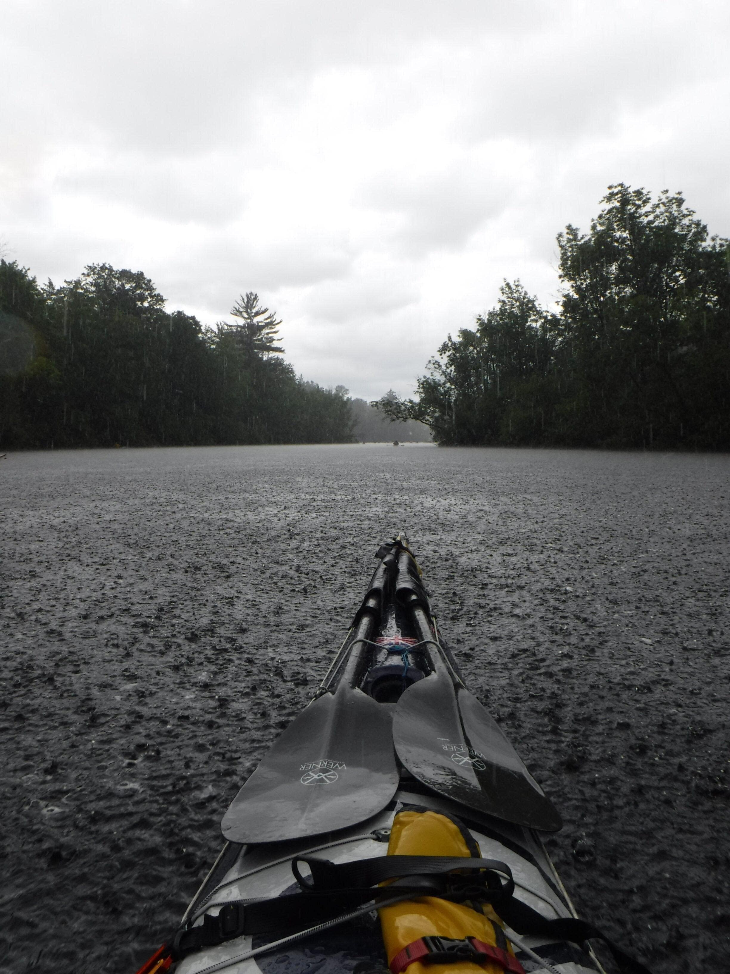 kayaking in the rain